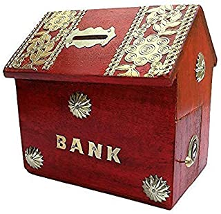 Universal Handicraft Wood Money Box (10 x 10 x 10 cm, Red)