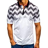 Polo Shirt for Men, F_Gotal Men's T-Shirts Fashion Summer Short Sleeve Gradient Color Buttons Slim Fit Tees Blouse Tops
