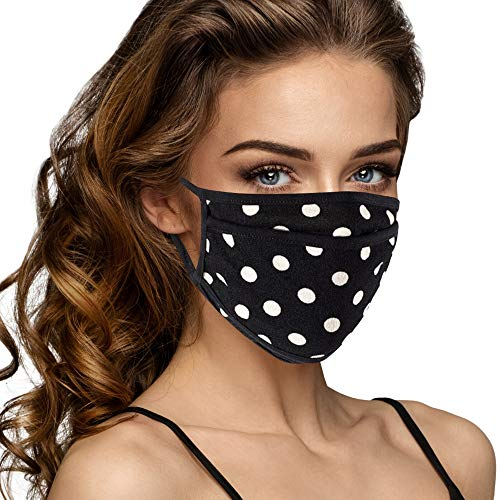 Cloth Face Mask Washable with Filter Pocket - Fashionable Women Designs are Washable, Breathable and Reusable - Soft Cotton Blend for Comfortable Protective Covering - Made in USA (Black/White Polka)