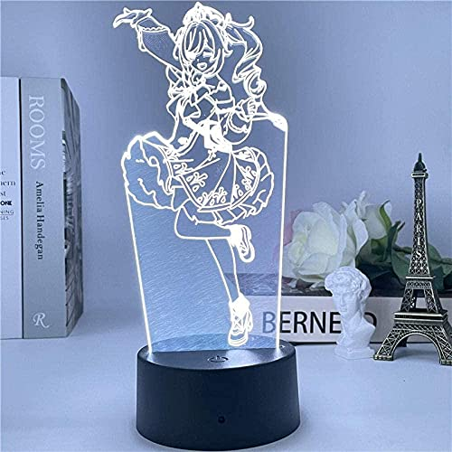 Lámpara de ilusión 3d noche luz LED de dibujos animados lindo niña diseño creativo mesa lámpara niño cumpleaños regalo comedor mesa habitación decoración de la habitación