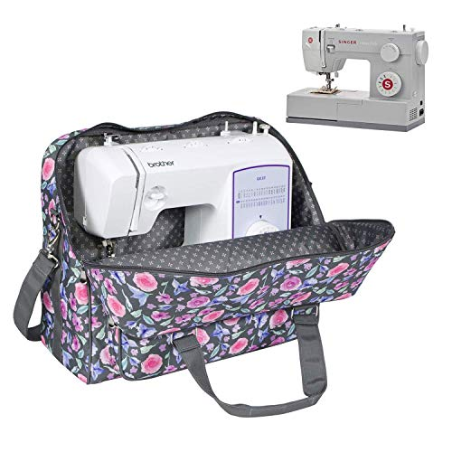 Everything Mary Deluxe Floral Sewing Machine Carrying Storage Case – Sewing Machine Tote Fits Most Standard Size Brother and Singer Machines - Portable Sewing Case with Shoulder Strap for Travel