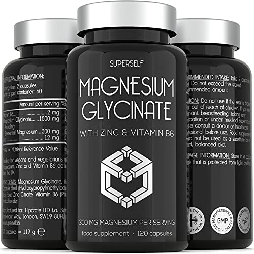 Magnesium Glycinate 300mg with Zinc & Vitamin B6 - High Strength 120 Capsules - Bioavailable Magnesium Supplements - 1500mg Chelated Bisglycinate Complex Providing 300mg Magnesium - UK Made & Vegan
