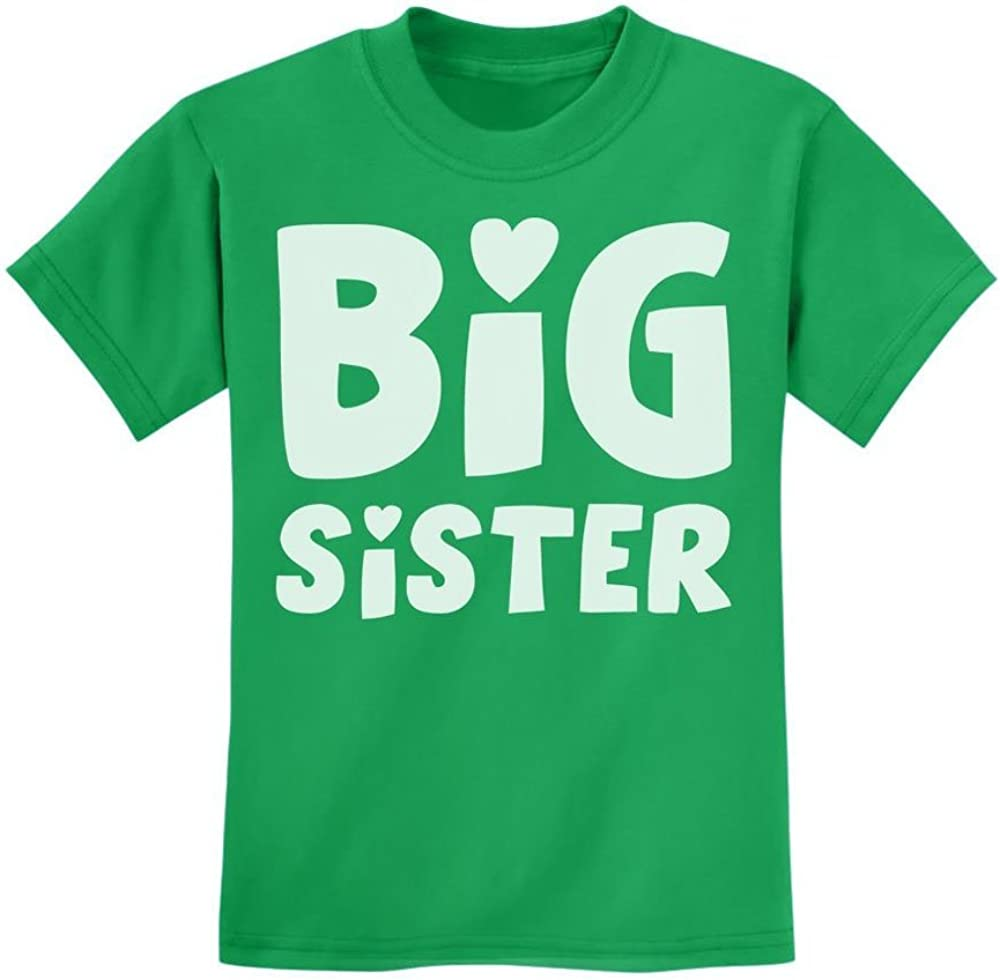 Loo Show Big Sister Sibling Gift Kids T-Shirt Girls Tee Green
