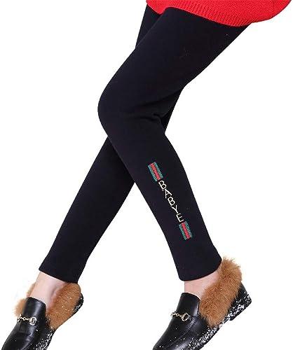 Enfants Filles Hiver Jambières épaisse en Molleton Chaud Doublé Thermique élasticité Pantalon Serré Coton Doux Long Longueur Pantalon pour Enfants (Couleur   Noir, Taille   150)