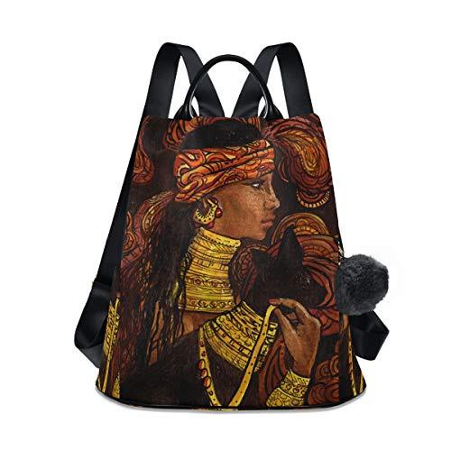 ALAZA Afro-amerikanische Frau im Schock-Rucksack mit Schlüsselanhänger für Damen und Mädchen