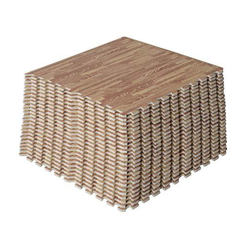 HOMCOM Soft Wood Grain EVA Foam Interlocking Floor Mats 96 Square Feet Exercise Workout Mat Kid Play Mat 24pcs (Grain Wood)