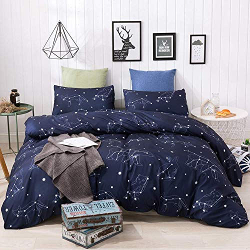 HYPREST 3 Pcs Duvet Cover Queen - Soft Breathable Durable Blue Duvet Cover Set Queen Comforter Cover Bedding Set for Kids Boys and Girls (Not Including Comforter)