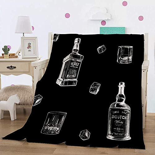 Flannel Fleece Throw Blanket,Ingredients for The Best Whiskey Taste. Bottles, Classes and ice Cubes. Seamless,Super Soft Cozy Lightweight Comfort Warm for Adult Kids80X60in(204x153cm)