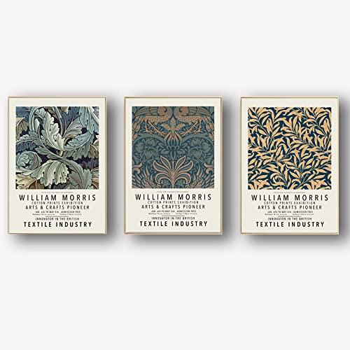 William Morris Flower Plant Poster Impresiones Hojas abstractas Lienzo Arte pared Pintura Galería Ilustraciones Arte pared Cuadros para la decoración sala de estar 40×60cm×3 Sin marco E3