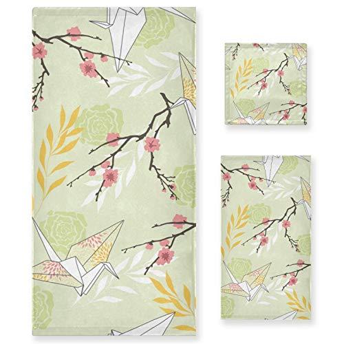 Juego de Toallas de baño de Lujo de algodón de 3 Piezas para Mujeres, Hombres, baño, Cocina, 1 Toalla de baño, 1 Toallas de Mano, 1 toallitas-Rose Sakura Origami Crane Retro Art