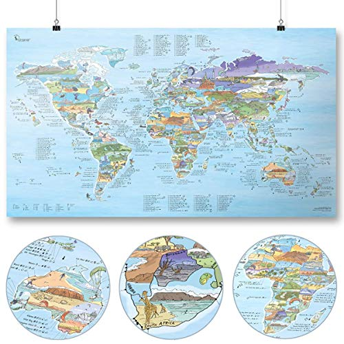 Kitesurf Map by Awesome Maps - Mapa mundial ilustrado para kitesurfistas - reescribible - 97,5 x 56 cm ⭐