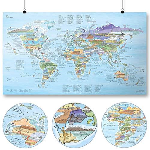 Kitesurf Weltkarte (Kitesurf Map) von Awesome Maps - Illustrierte Karte für Kitesurfer - Wiederbeschreibbar - 97,5 x 56 cm [International Edition]
