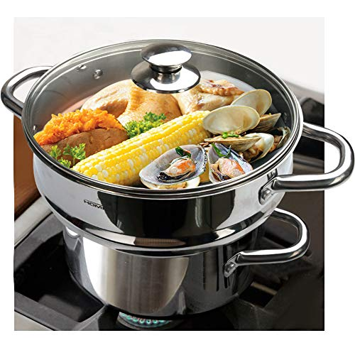 """HOMICHEF 3 PCS Whole Food Steamer Set - Nickel Free Stainless Steel Veggie Steamer Pot (9.5"""" Large Vegetable Steamer Insert With Lid, 8"""" Steam Pot) - Induction Steamer Pots - Steam Pots Steam Baskets"""