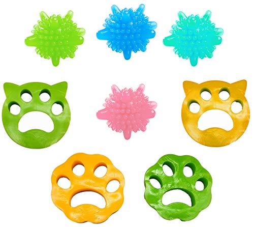 Gresunny depiladora de Mascotas, 4 removedor de pelos para Lavadora + 4 Bola de Limpieza de Ropa Bolas para Lavadora filtros de Pelusa de Reutilizables para Pelo de Perro y Gato, Todas Las Mascotas
