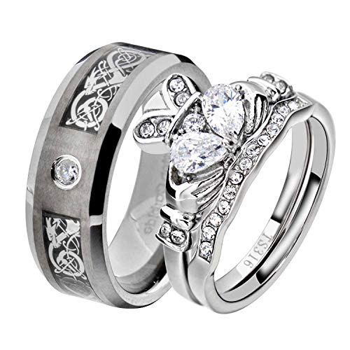 His and Hers Wedding Ring Sets Couple Ring Bridal Sets Women Stainless Steel Irish Claddagh CZ Men Tungsten Carbide CZ Solitaire Celtic Dragon Scroll Wedding Engagement Ring Band Set QD