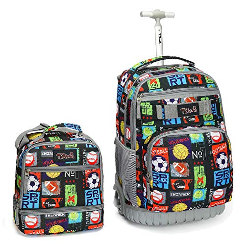 Tilami Rolling Backpack 19 inch with Lunch Bag Wheeled Laptop Backpack, Sport Balls