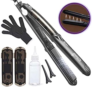 Professional Steam Hair Straightener for steam & infusion treatment Salon quality 2in1 Ceramic Tourmaline flat iron styler Straighteners 4 Dry & Wet hair 360° Swivel Cord 450ºF