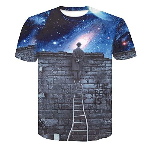 Casuales Camisas Hombre Verano Moda Cuello Redondo Hombre Camiseta Personalidad 3D Impresión Manga Corta Deportiva Camisa Urbana Novedad Creativa Streetwear Camisa AE062 4XL