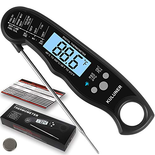 "KULUNER Waterproof Digital Instant Read Meat Thermometer with 4.6"" Folding Probe Backlight & Calibration Function for Cooking Food Candy, BBQ Grill,..."