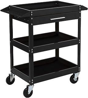 TUFFIOM 3 Tier Rolling Tool Cart, 330 LBS Capacity Industrial Service Cart, Heavy Duty Steel Utility Cart, Tool Organizer ...