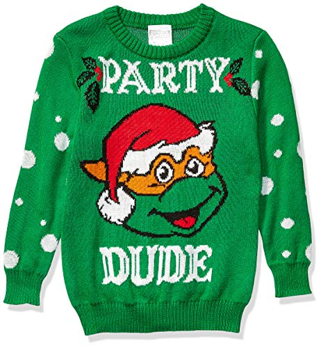 Nickelodeon Boys' Ugly Christmas Sweater, Party Dude/Green, Large (12/14)