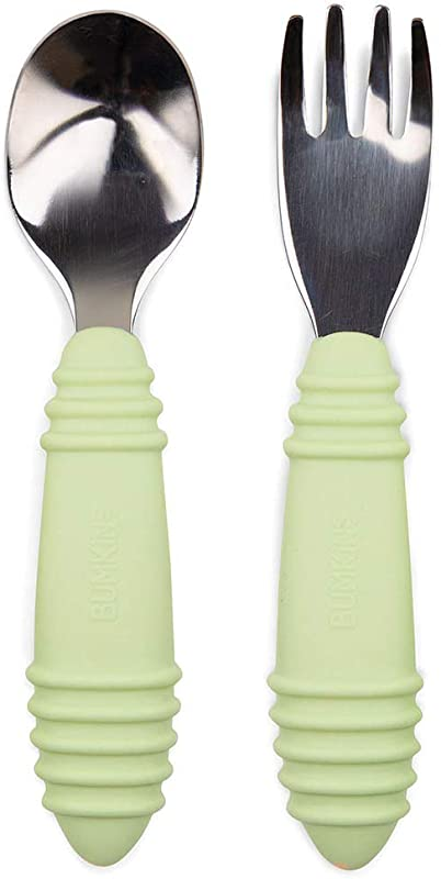 Bumkins Baby Fork And Spoon Set Toddler Silverware Self Feeding Silicone And Stainless Steel Sage SFT