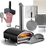 Deco Chef Outdoor Pizza Oven with 2-in-1 Pizza and Grill Oven Functionality, 13' Pizza Stone, Portable Stainless Steel Construction, Pizza Peel, Dough Scraper, Scoop, Slotted Grill (Black)