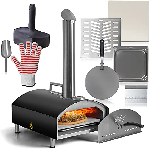 Deco Chef Outdoor Pizza Oven with 2-in-1 Pizza and Grill Oven Functionality, 13' Pizza Stone,...