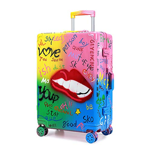 Suitcase Trolley, Suitcase Luggage,Graffiti Art, Fashion Trends,Carry on Hand Cabin Luggage Hard Shell Travel Bag Lightweight,Durable 4 Spinner Wheels,26 inch