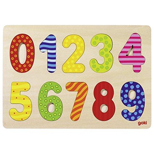 Goki 57574 - Einlegepuzzle - Zahlen 0-9