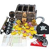 EKKONG Piratenschatz, Piraten Goldmünzen Schmucksteine Set, Schätze für Schatzsuche, Schatzkiste (Groß)