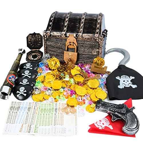 EKKONG Juego de monedas de oro pirata, tesoros para búsqueda del tesoro,...