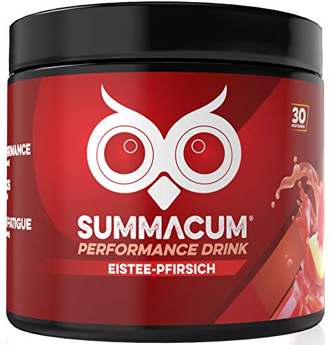 SUMMACUM Konzentrationsbooster mit 200mg Koffein. 30 Portionen Eistee Pfirsich. Mit Acetyl-L-Carnitin, CDP-Cholin-Cognizin und grünem Tee