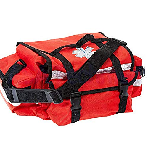 First Aid Responder EMS Emergency Medical Trauma Bag - Paramedics, Firefighters, Nurses, Home Health Aides (Red)