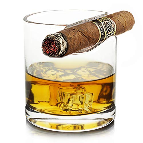 1x Old Fashioned Whiskey Crystal with Top Mounted Cigar Holder - Lead Free Hand Blown Glass