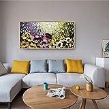 QMKJ Decoración Pastoral Simple Moderna Drawting Lienzo Pared Arte Mural Pintado a Mano Pinturas al óleo de Flores Colgar en Sala de Estar Porche Comedor Dormitorio