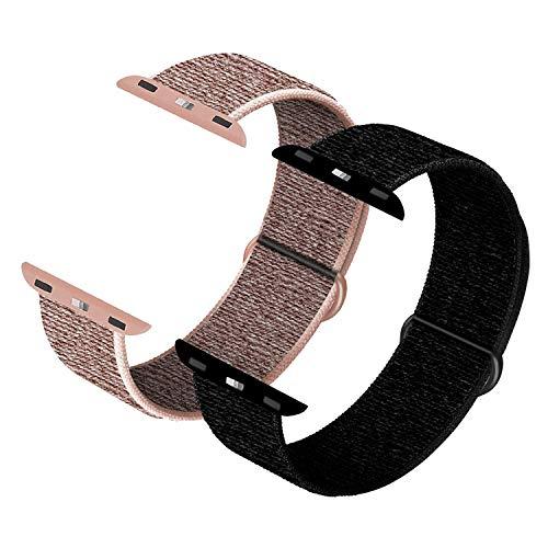 JONWIN Correa para iWatch 42mm 44mm, Soft Sport Loop, Reemplazo de Correa para iWatch Series 6/5/4/3/2/1/SE,Pink Sand&Dark Black