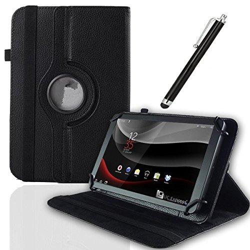 UC-Express Schutz Tasche Vodafone Smart Tab 4 / 4G Hülle Tablet Schutzhülle Kunstleder Cover Hülle Schutztasche Standfunktion 360° Drehbar Etui Zubehör Schwarz