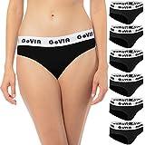 GoVIA® Lot de 6 Slip Femme Strings de Sport pour Dames, Ceinture Profonde avec Bande élastique Large en Coton 3922 Noir XS