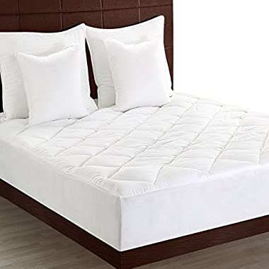 Premium Mattress Pad (King) - Quilted Fitted Mattress Topper Stretches Upto 15 Inches Deep - Plush and Soft Mattress Protector And Cover With Deep Pockets By Utopia Bedding