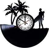szhao Reloj de Pared de Vinilo Reloj de Disco de Vinilo de 12 Pulgadas - Decoración de Reloj de Surf Creativa Retro