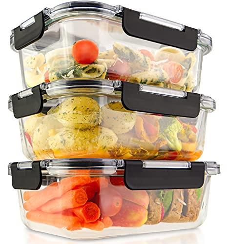 edallo® 3 grandes recipientes de cristal para alimentos con tapas de Tritan® - Aptos para microondas, horno, congelador, lavavajillas - Tapers vidrio herméticos botes cocina - Juego: 3x 1040ml (1L)