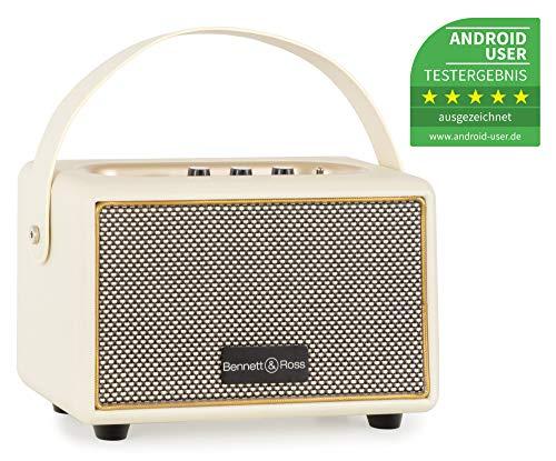 Bennett & Ross BB-820CW Blackmore Junior Version 2020 - Retro Bluetooth Lautsprecher in Lederoptik mit 5200 mAh Akku - Vintage Speaker mit 20W - MicroSD-Eingang mit MP3-Player - Aux-in - Weiß