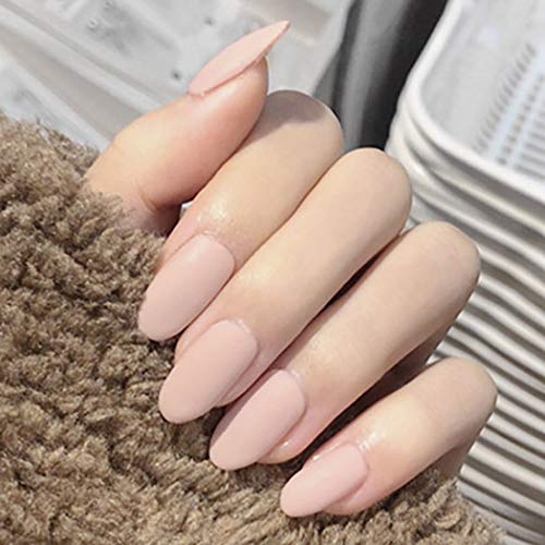 Sethexy Matt Kurz Oval Falsche Nägel Einfarbig Modestil Falsche Fingernägel 24St Vollständige Abdeckung Salon Acryl Kunst Nagelspitzen für Frauen und Mädchen (Rosa)