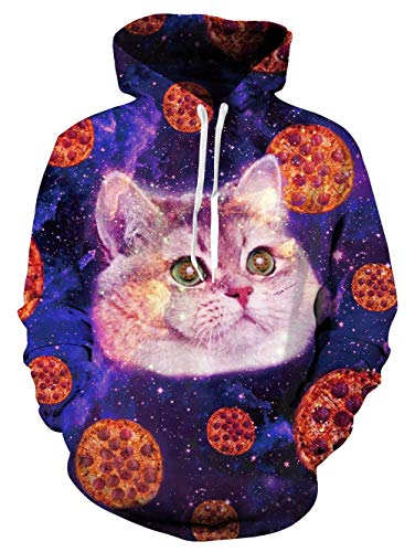 TUONROAD 3D Personalized Graphic Hoodie Shirt Jumpers Tropical Colorful Pizzas Cat Galaxy Stars Youth Large Premium Quality Cool Sweatshirt Unique Pullover for Workout Gym Sports Casual Wear