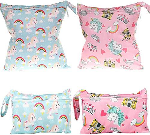 Bolsa Pañales,Comius Sharp 4 Piezas Bolsa de Pañales Reutilizable,Impermeable Organizador Pañales Bebe Bolsas Pañales,Bolsa para la Ropa de Bebé para pañales, ropa sucia y más.