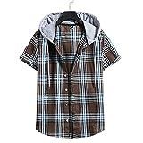 Camisa Hombre Camisa con Capucha Camisa Holgada Y Cómoda con Cordón Camisa De Verano con Botones A Cuadros De Manga Corta Camisa Hawaii Camisas Juveniles De Estilo Universitario N-014 XL