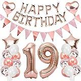 Ouceanwin 19 Cumpleaños Decoraciones Oro Rosa, Globos Numeros Gigante 19, Bandera de Globos Happy Birthday, Globos de Confeti, 19 años Fiesta de Cumpleaños Kit para Niñas y Mujeres