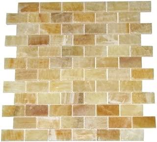Honey Onyx 1x2 Brick Pattern Polished Mosaics Meshed on 12