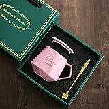Xiaobing Tazza in ceramica con diamante creativo con coperchio Tazza per tazza d'acqua per ufficio da casa per caffè -D321-301-400ml-G1363